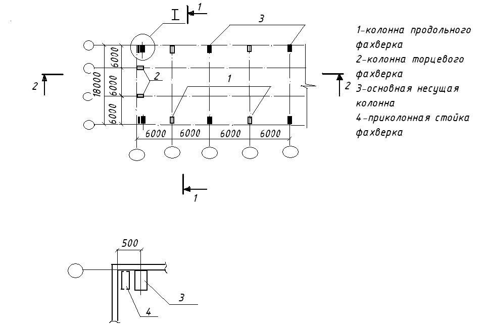 Схема расположения фахверковых